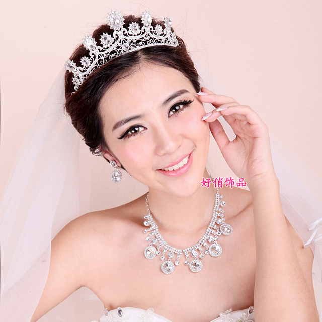 fashion luxury crystal bridal wedding jewelry sets three-piece necklace tiara sets bridal party gift free shipping