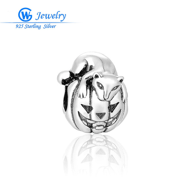 GW Fine Jewelry Halloween Jewelry Pumpkin Charm 925 Silver Charms Fits For Pendants Bracelets &Necklace T203H20