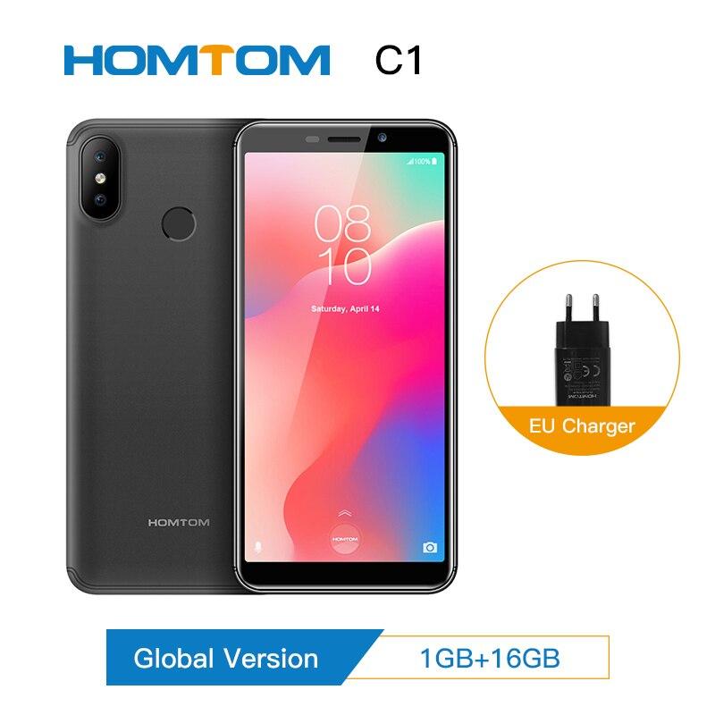 Original HOMTOM C1 Android8.1 16GB ROM Quad Core Telefone Móvel 5.5 polegada 18:9 Plena Exibição 13MP Traseira Câmera do Smartphone impressão digital