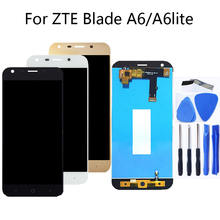 цена на For zte blade A6 A6 lite 5.2 inch 100%tested high quality LCD display touch screen black white gold LCD display