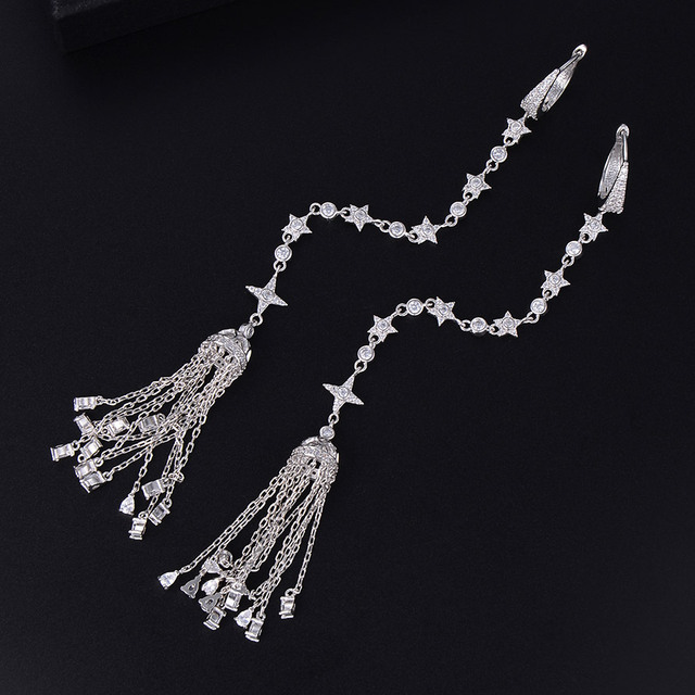 GODKI 149mm bardzo długa krzyż Tassel krople geometria cyrkonia American Wedding Party kolczyk biżuteria dla kobiet
