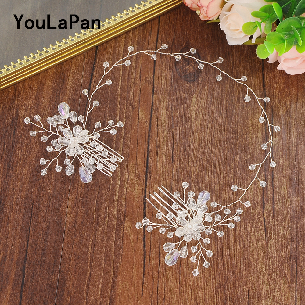YouLaPan Bridal Tiara Bridal Combs Clear Crystal  Bridal Wedding Hair Accessories Wedding Hair Jewelry Wedding Hair Comb HP25