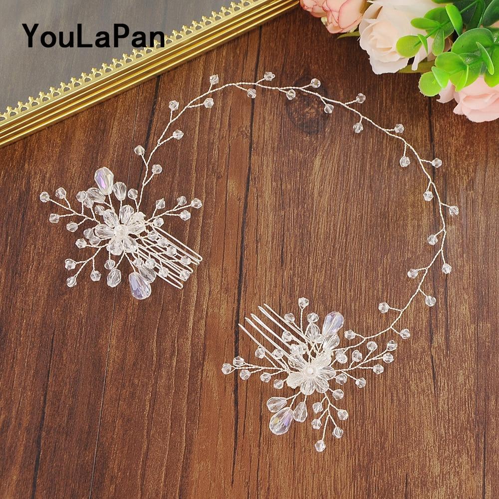 YouLaPan Bridal Tiara Bridal Combs Clear Crystal  Bridal Wedding Hair Accessories Wedding Hair Jewelry Wedding Hair Comb HP25