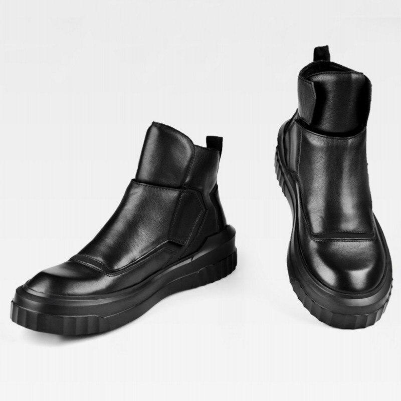 Do Boots Couro Homens De Ocasional Hombre Ankle Cheio Plush Exército Black Top Punk Dos Botas black Pretos Combate Confortável Sapatos High Grão Inverno ZvrYwqZ