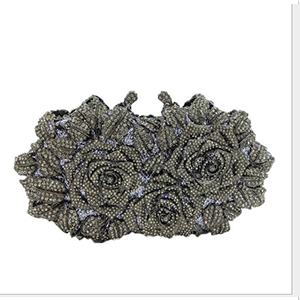 European Style Luxury Diamond Gold Evening Bag Flower Clutch Crystal Beaded Evening Clutch Shoulder Bag Wedding Party Purse flower evening crystal bag golden stones rhinestone clutch evening bag female party purse wedding clutch bag shoulder bags