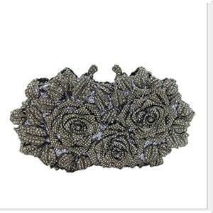European Style Luxury Diamond Gold Evening Bag Flower Clutch Crystal Beaded Evening Clutch Shoulder Bag Wedding Party Purse