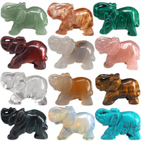 2 inches elephant natural crystal half precious stone carving elephant natural stone animal display crafts