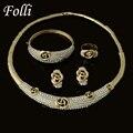 Moda Dubai Chapado En Oro Conjuntos de Joyas de Marca Clásico Desig de Nigeria Boda Perlas Africanas Sistemas de la Joyería de Cristal Blanco