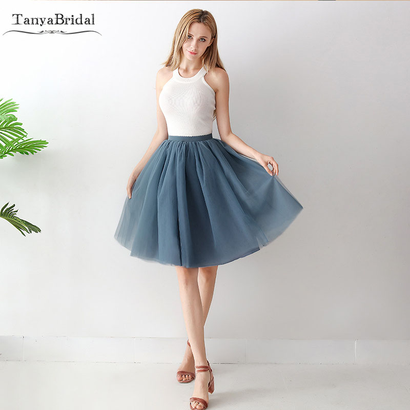 TuTu Skirts Party   Cocktail     Dresses   SKIRTS 7 Layers Cheap Tulle Skirts Real In Stock Free size waist 60-88cm DC001