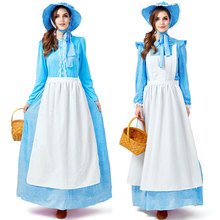 Umorden Blue Floral Colonial Pioneer Costume for Women Maiden Farm Prairie Dress Cosplay Halloween Party Carnival Costumes