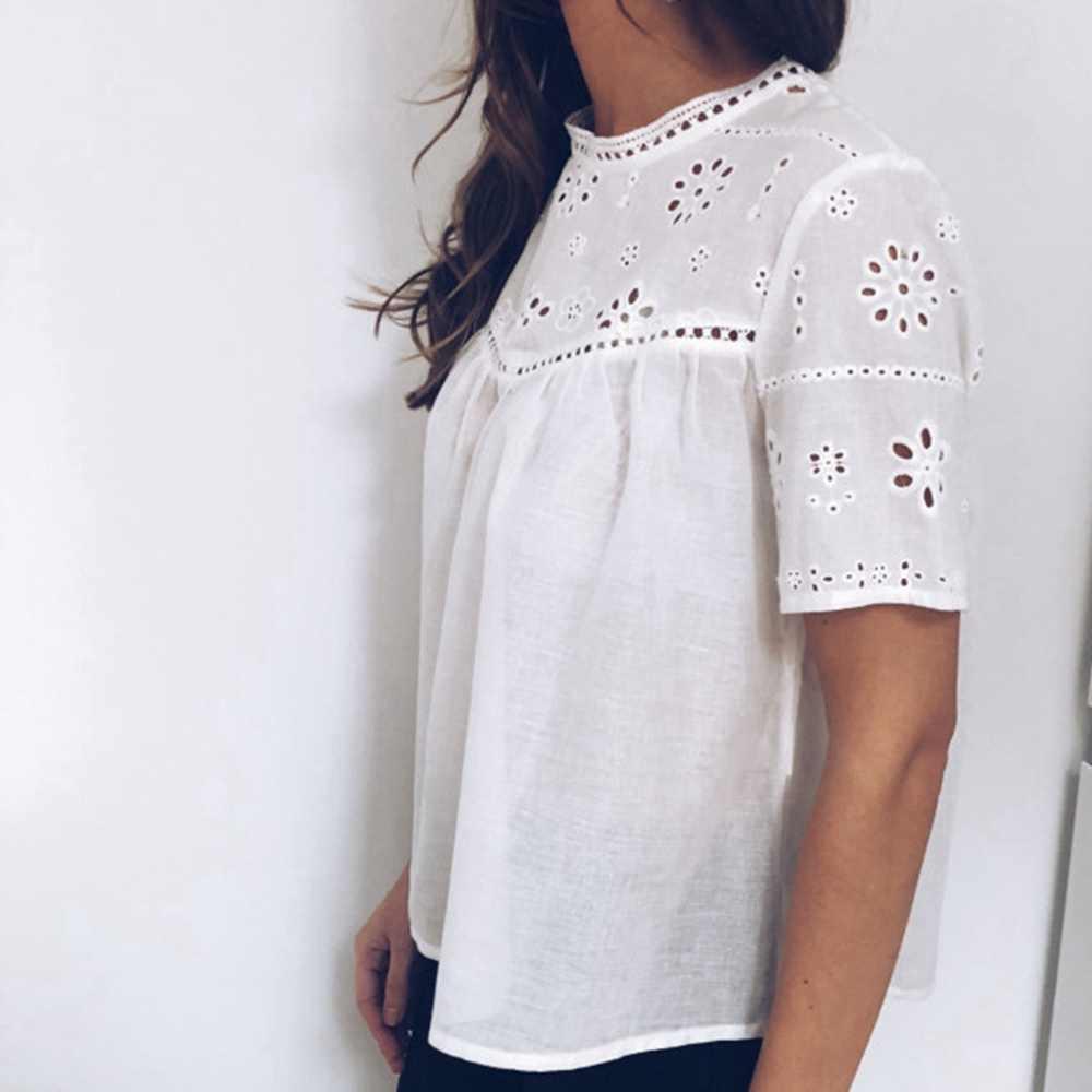 Kore bayan moda giyim Kısa Kollu Bayan Üstleri ve Bluzlar Yaz Beyaz Bluz Seksi Hollow Out Çiçek Gömlek Streetwear