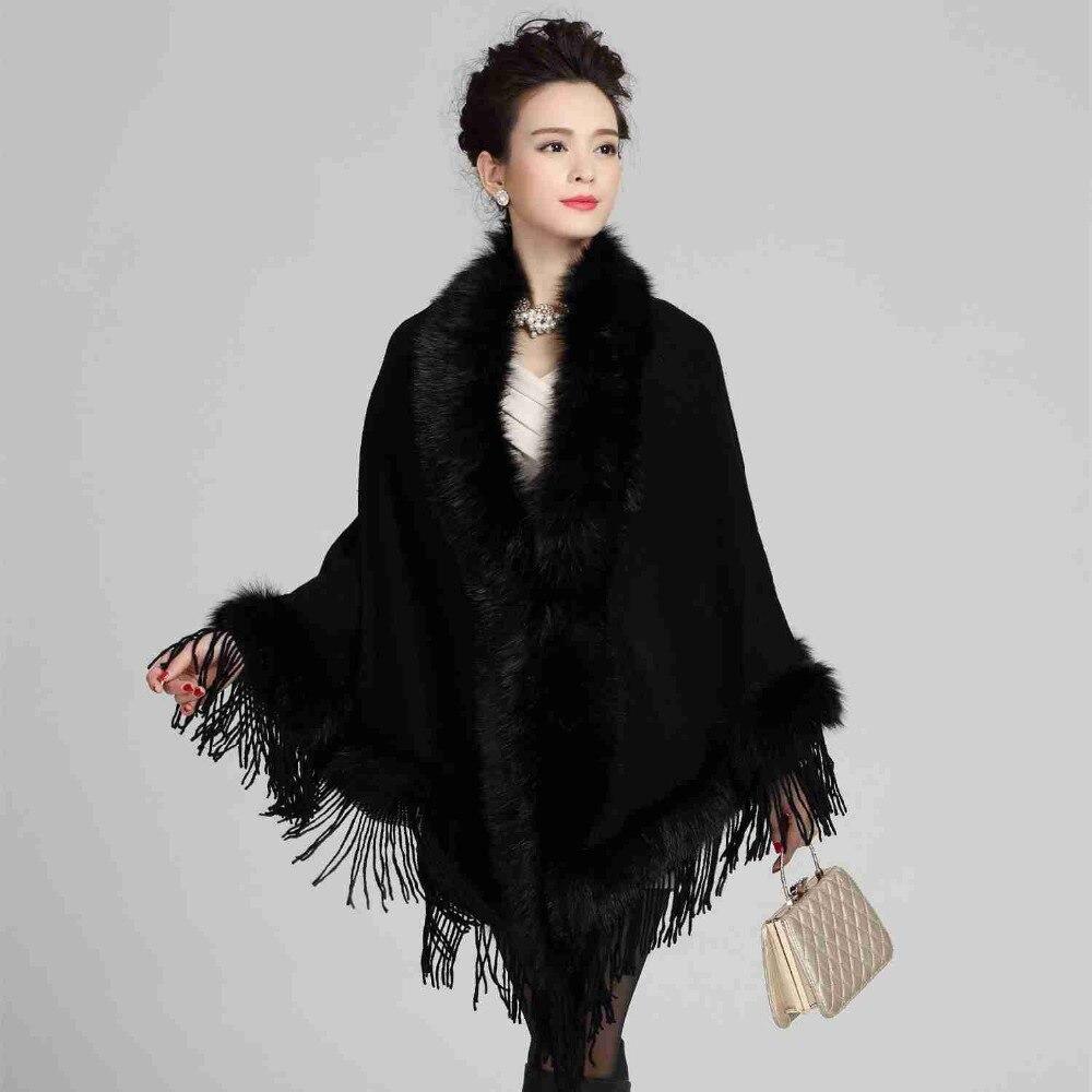 2917 2018 Écharpe de luxe marque De Mode Tricot À col châle Pashimina  Hiver-poncho étole De Fourrure Inverno feminino style Britannique 3c1c5bdc960