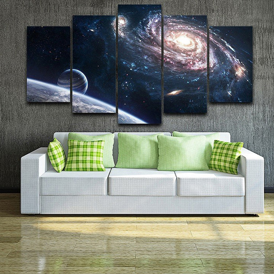 Art Poster Style Wall Pictures For Living Room 5 Panel Outer Space Planet Abstract Canvas Cuadros Modern Decoration Paintings in Painting Calligraphy from Home Garden