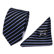 2017 Hot Selling Black blue  Striped Tie+Hanky+Cufflinks Set Men's 100% Silk Ties for Formal Wedding Business Party L1003-S20 2017 hot selling 100