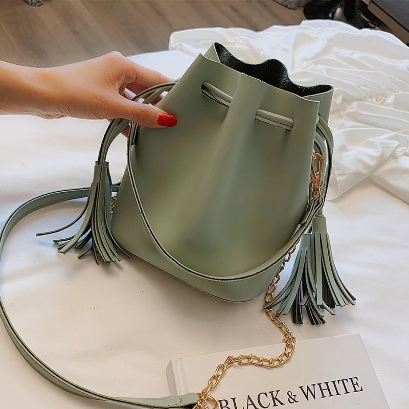New Designer Bucket Bag Pu Leather Handbags Crossbody Bags For Women Messenger Bag Tassel Composite Bag in Shoulder Bags from Luggage Bags