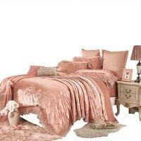 80 s роскошный комплект постельных принадлежностей хлопка queen size простыней кружевное жаккардовое наволочка 1000TC атлас домашний текстиль розо