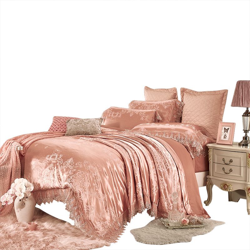 80s luxury bedding set cotton queen size bed sheet lace jacquard pillow cover 1000TC satin home textile pink bedspread wedding80s luxury bedding set cotton queen size bed sheet lace jacquard pillow cover 1000TC satin home textile pink bedspread wedding