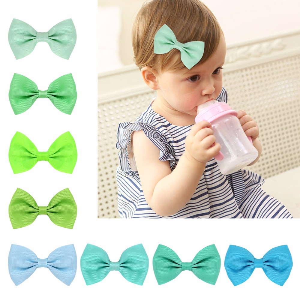 8pcs/set Solid Hair Bows With Clips For Girls Kids Princess Plain Grossgrain Ribbon Bows Hairpin Hair Accessories 2pcs bowknot girl kids mini hair clip hairgrip satin hair ribbon bows hairpin accessories for girls hair clips hairclip barrette