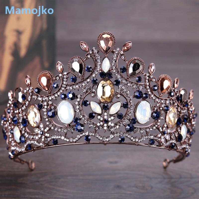 Mamojko Handmade Vintage Rhinestone Crystal Big Wedding Bridal Crown Fashion Bride Tiara Women Diadem Hair Dress Accessories