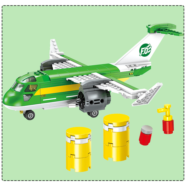 523PCS Technic Series Bricks Compatible City Airport Cargo Plane Building Block DIY Toy City Educational Toys For Boys