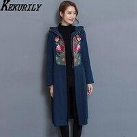 KEKURILY Women Vintage Windbreaker Elegant Cardigan Long Coat Embroidery Floral Maxi Female Jacket Large Size Retro
