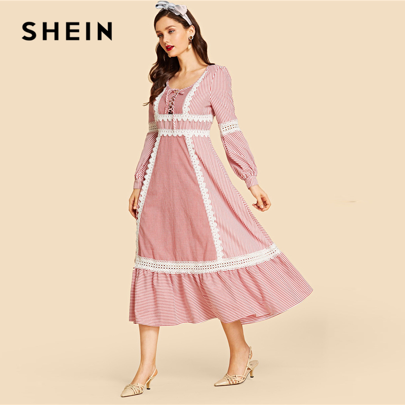 SHEIN Red Contrast Lace Up Front Lace Insert Striped Dress Women's Shein Collection