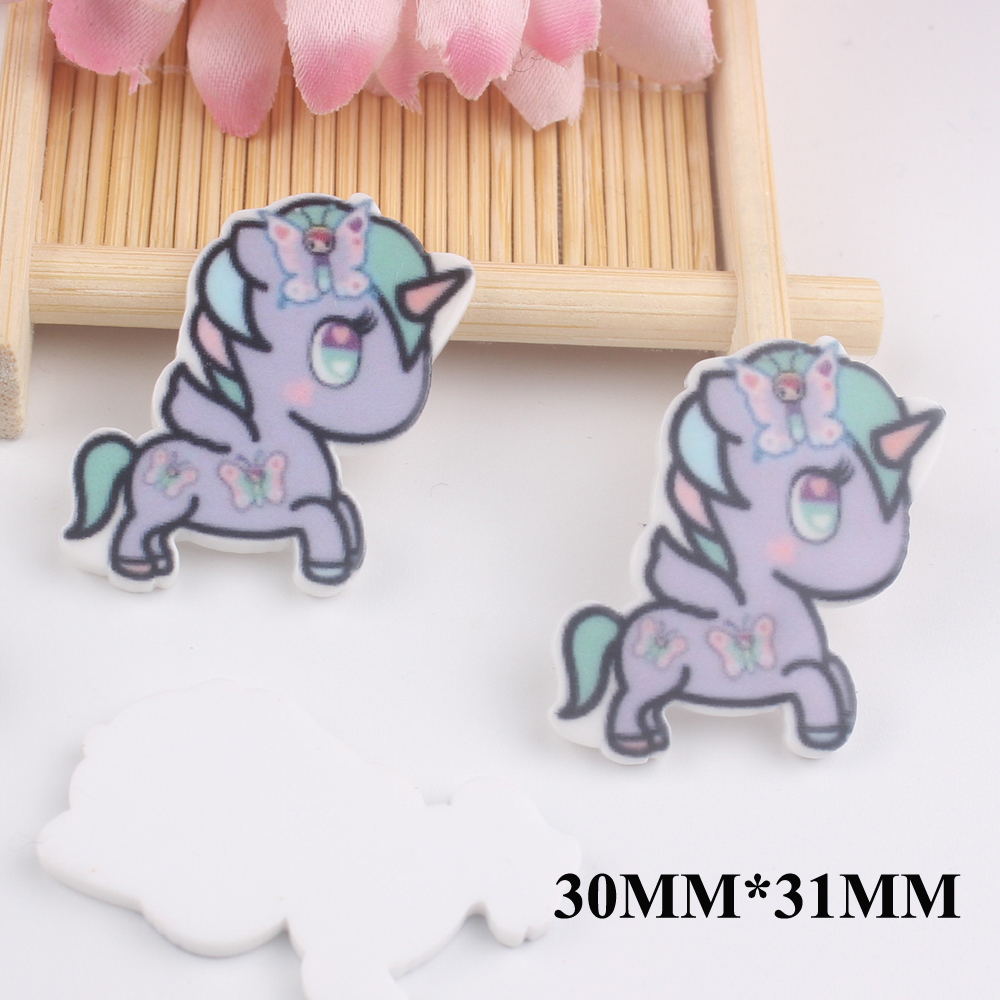 50pcs/lot 30*31MM Kawaii Cartoon Unicorn Flat Back Resins For Hair Bow Accessories Horse Planar Resin DIY Craft Decoration FR050