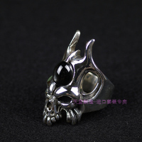 Crazy pig skull ring 925 thai silver devil