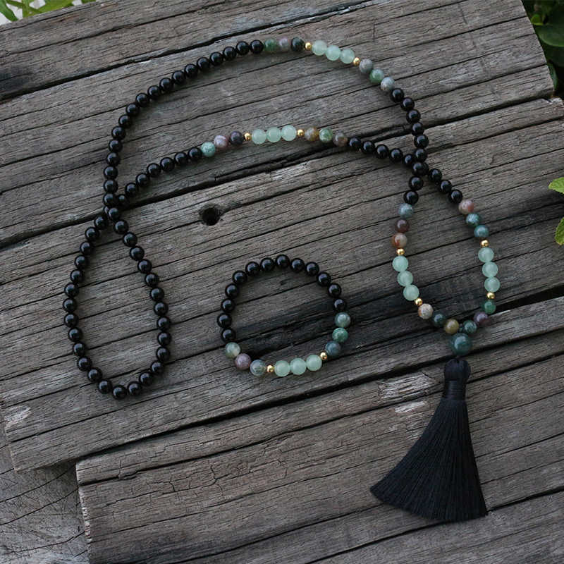Indian Agate and White Onyx Spectrum Mala