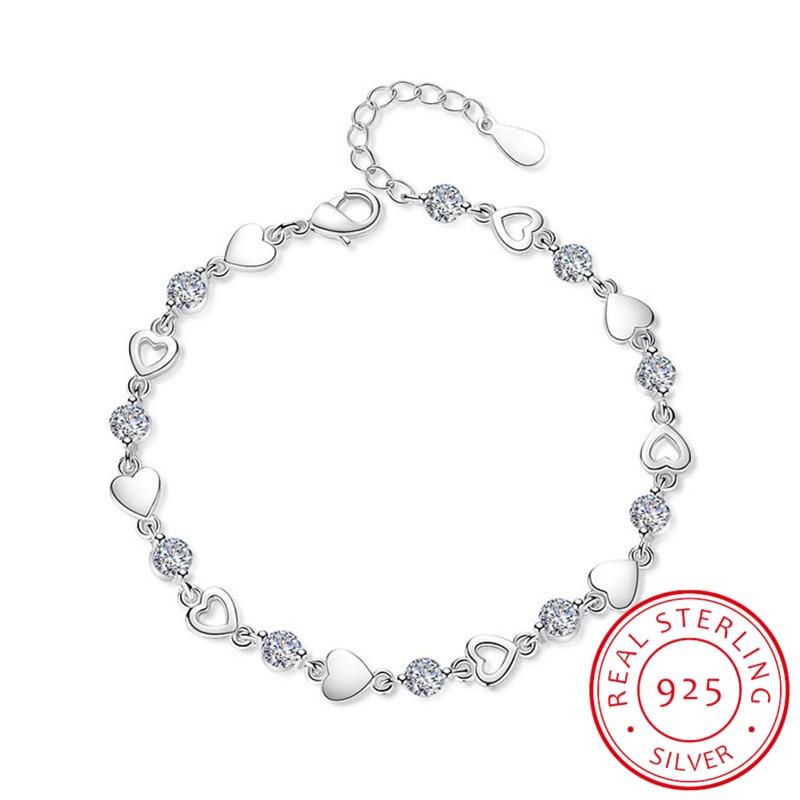 New Fashion 925 Sterling Silver Love Heart Zirconia Bracelets For Women Crystal Jewelry Pulseira Feminina S-B144