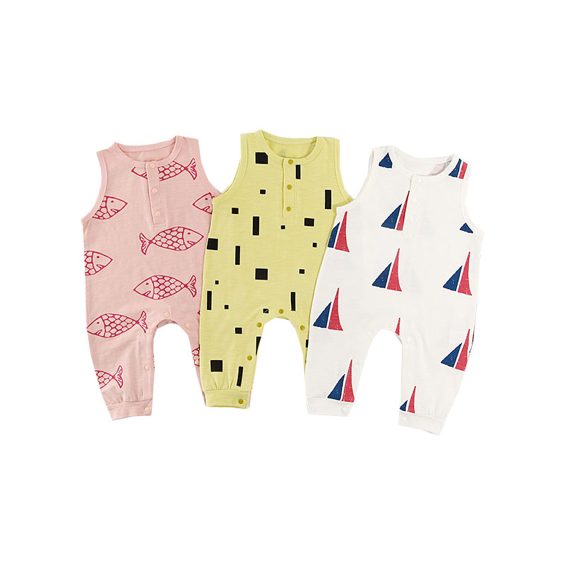 Brand New Cute Newborn Toddler Infant Baby Boy Girl Cotton   Romper   Jumpsuit Fish Print Clothes Newborn Outfits Sleeveless Sunsuit
