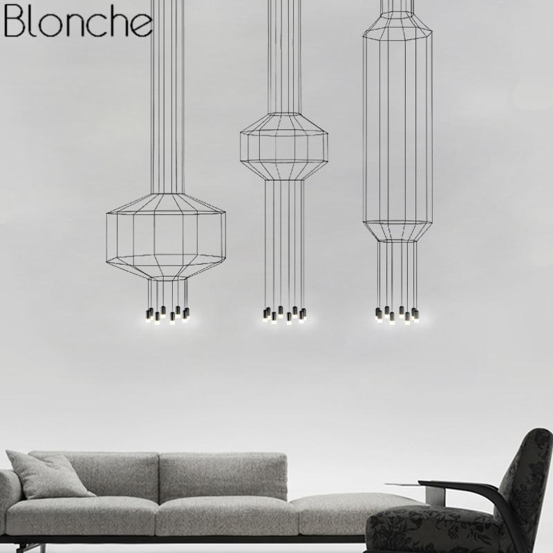 Line Art Pendant Lights Led Hanging Lamp Modern DIY String Lamp Geometric For Living Room Home Decor Lighting Industrial Fixture