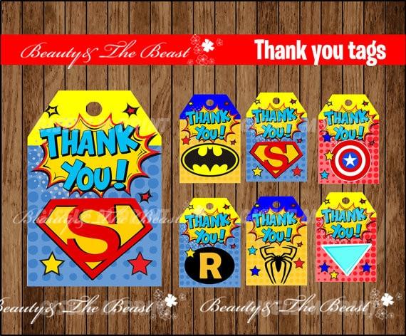 Superhero Logo Tags Thank You Tags Gift Favors Superhero