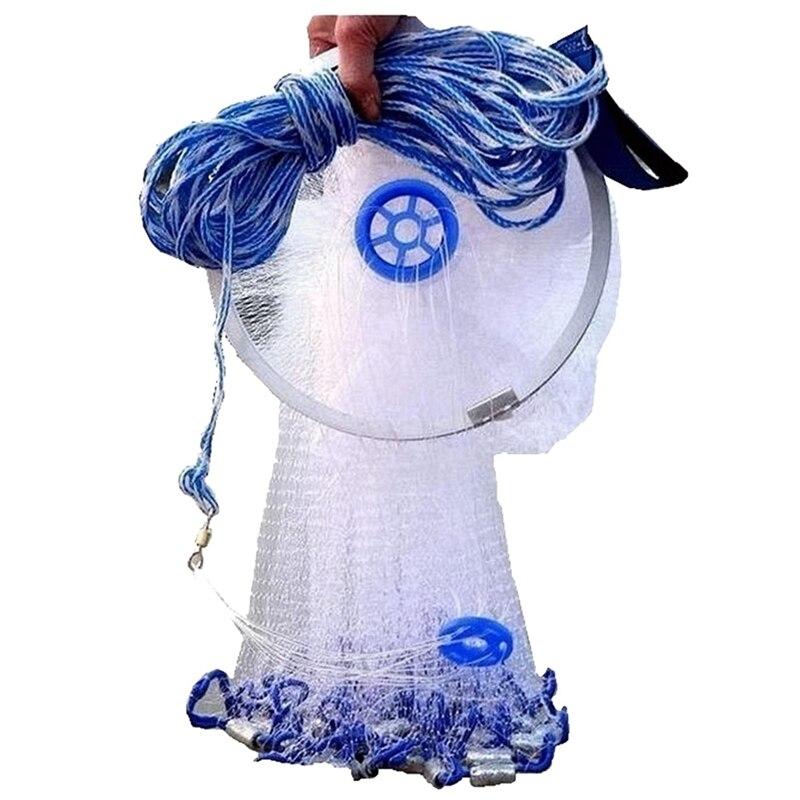 Spor ve Eğlence'ten Dış Mekan Aletleri'de 8Ft tam örtüsü naylon Filament balık solungaç Net kolay atma balıkçılık el döküm title=