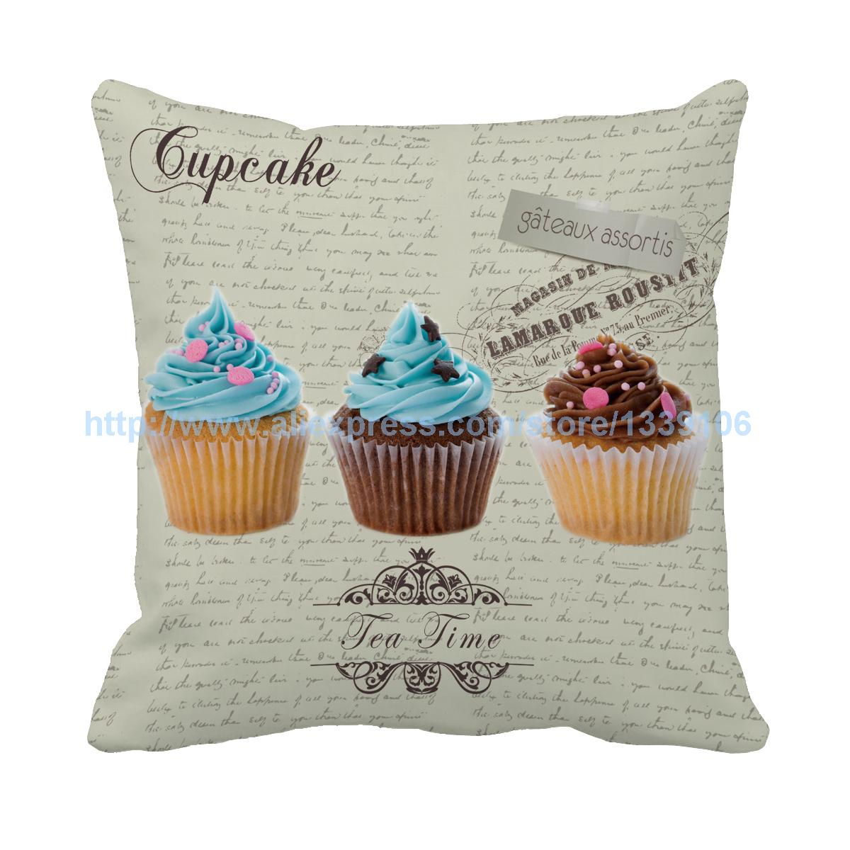 Hot Europe style afternoon tea cupcake print custom square design cushion home decor almofada decorative pillow inner sofa bed
