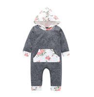 MUQGEW Fashion Baby clothes Children Romper Boys Girls Hooded Floral Print Romper Jumpsuit baby costume kombinezon zimowy dzieck Baby Rompers