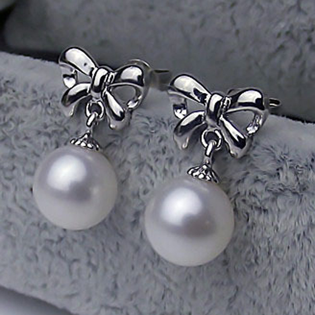 Bow Earrings Sweet Design Gvbori 6 8mm 925 Sterling Silver Fleshwater Pearl For Young