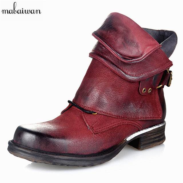 Mabaiwan New Wine Red Genuine Leather Women Ankle Boots Punk Motorcycle Boots Buckle Decor Short Botas Militares Knight Booties