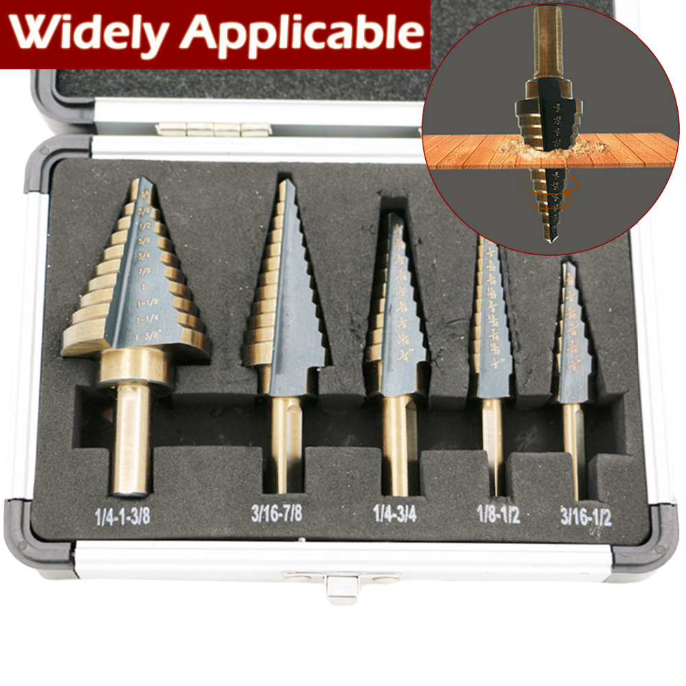 5pcs Large Cobalt HSS Step Titanium Cone Drill 50 Sizes Step Drill Bit Hole Cutter Bit With Case Power Tool Drill Bits