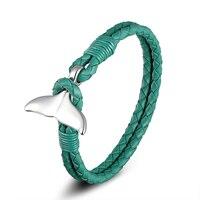 Brand New Blue Whale Tail Charm Bracelet Donne Bel Regalo Pelle Bovina Corda Intrecciata Freddo Wristband Bracciali In Acciaio Inox Whale