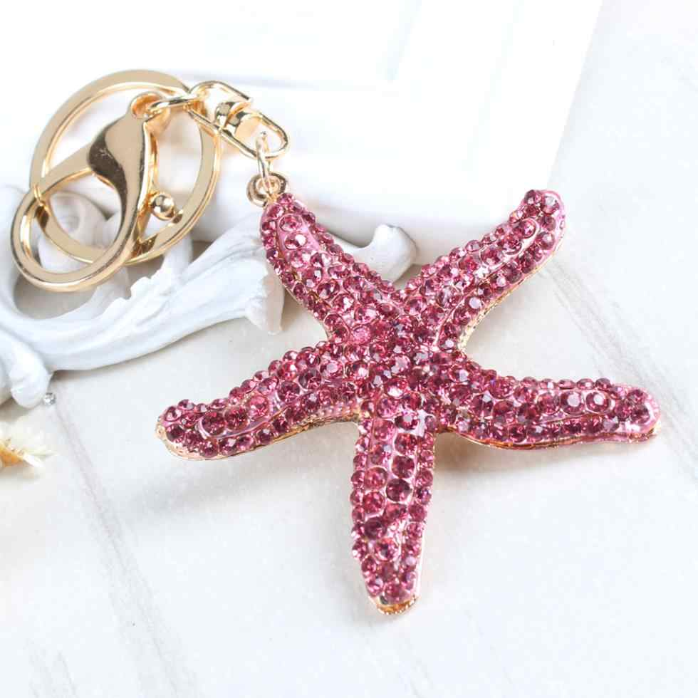 New Starfish Pearl Shell Key Ring Chain Crystal Pendant