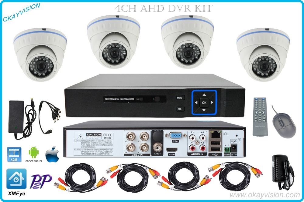 4ch P2P H.264 AHD DVR KIT with 4CH HDMI VGA AHD DVR Metal 720P HD Surveillance Security ahd Camera System WITH XMEye app