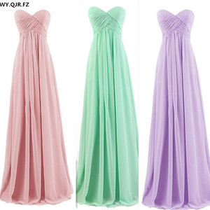 Image 1 - PTH72#new spring summer nude pink mint green Long bridesmaids dresses tube top wedding Party prom dress 2019 wholesale custom