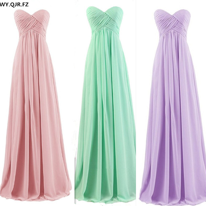 PTH72#new Spring Summer Nude Pink Mint Green Strapless Bridesmaids Dresses Bride Wedding Toast Prom Dress 2018 Wholesale Custom