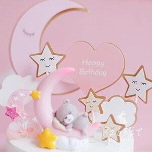 Image 2 - Ins Roze Maan Beer Ster Konijn Decoratie Gelukkige Verjaardag Cake Toppers Voor Kinderen Baby Party Bakken Bruiloft Benodigdheden Leuke Cadeaus