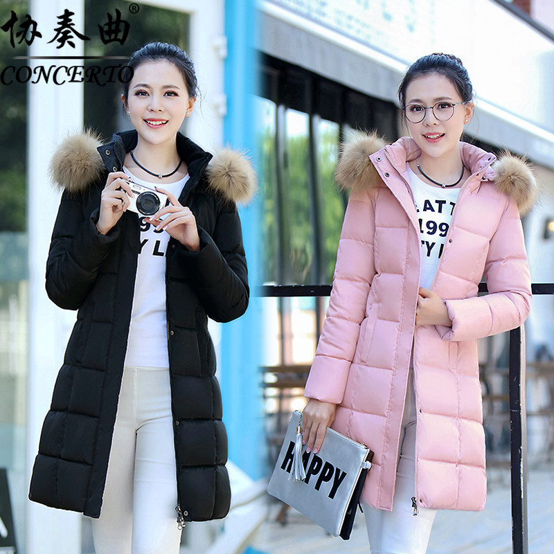 2017 winter women new large fur collar down wadded jacket medium-long cotton-padded jacket slim thickening winter outerwear цены онлайн