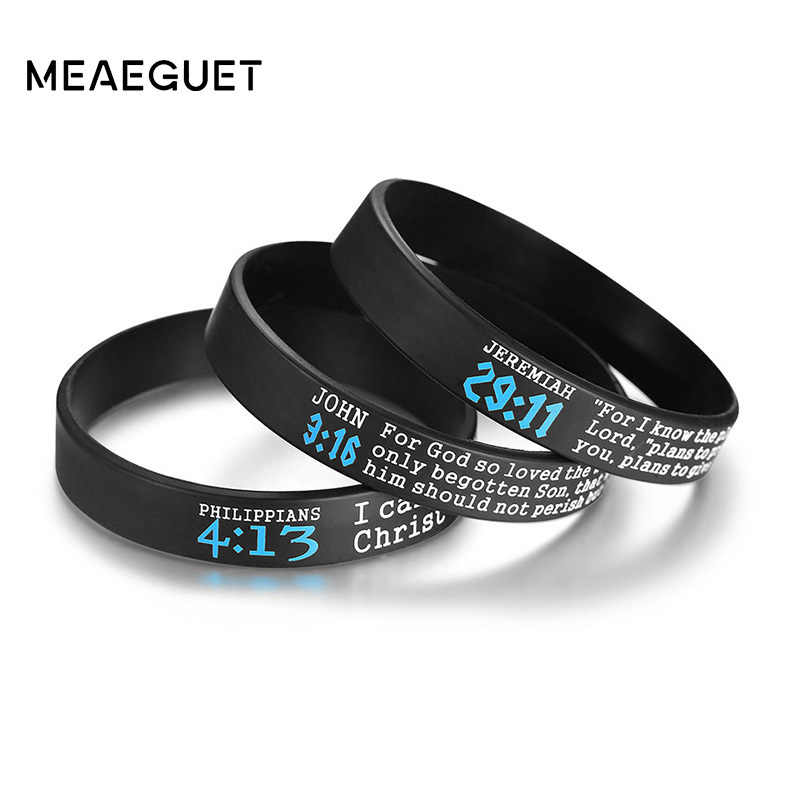 3pcs/1 Set Religious Men Bracelets Silicone With Bible Verses Rubber Bangle Male Black Color Wristands Women