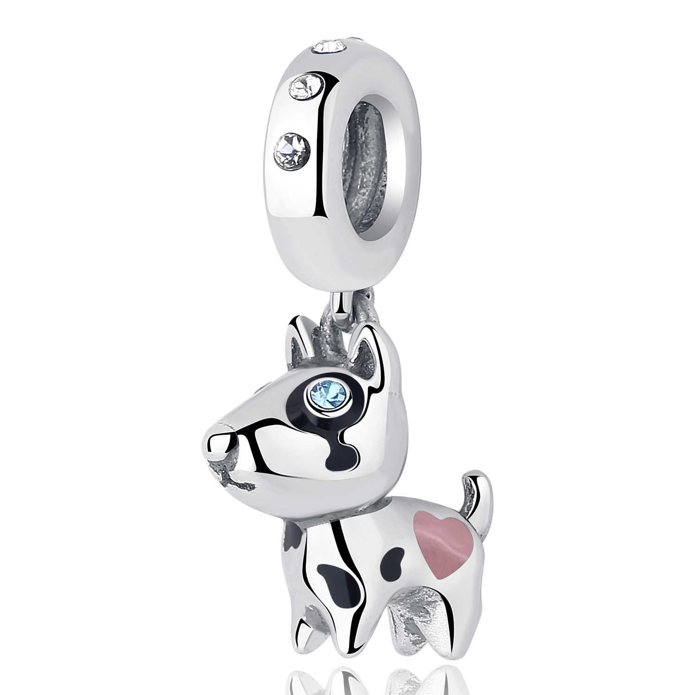 ddcb1f87f ... 925 Sterling Silver Pet Dog Bone Lucky Dog Paw CZ Crystal Pendant Bead  Charm Fit Pandora ...