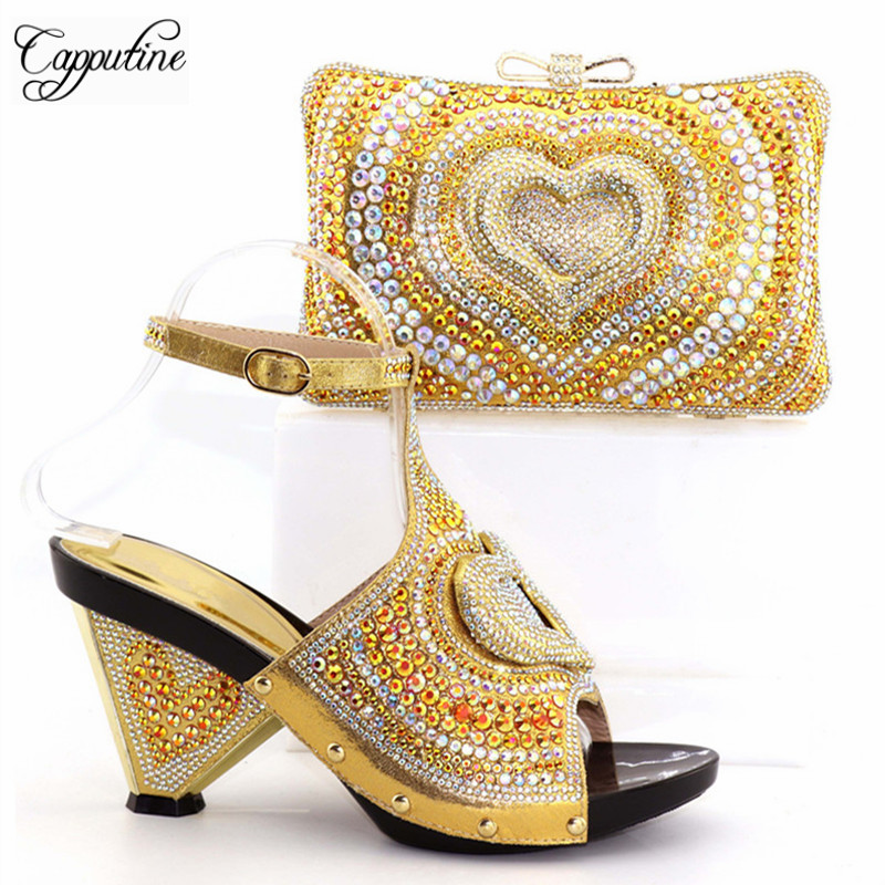 Capputine New Italian Woman Gold Shoes And Bag Set African Rhinestone High Heels Shoes And Bag Set For Party Dress Size 38-42 capputine new arrival fashion shoes and bag set high quality italian style woman high heels shoes and bags set for wedding party