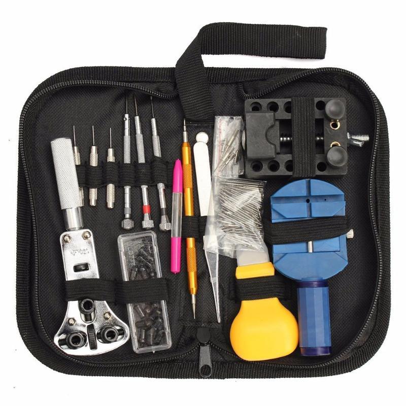 144 pièces montre réparation outil Kit montre outils horloger outils montre Caser ouvre Pin lien solvant ressort barre horloger outils